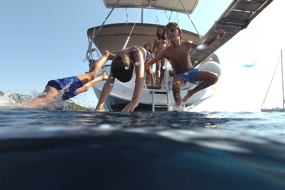 CTS Family Sailing Holidays Greece kids sailing school dips